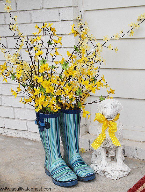 Adorable Rain Boot Planter Ideas One Day For My House