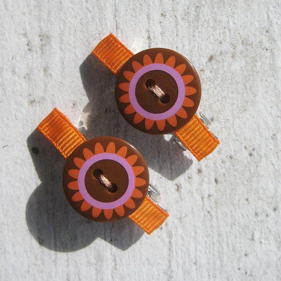 Orange Button Barrette Set by miabebe1 on Etsy, $8.50
