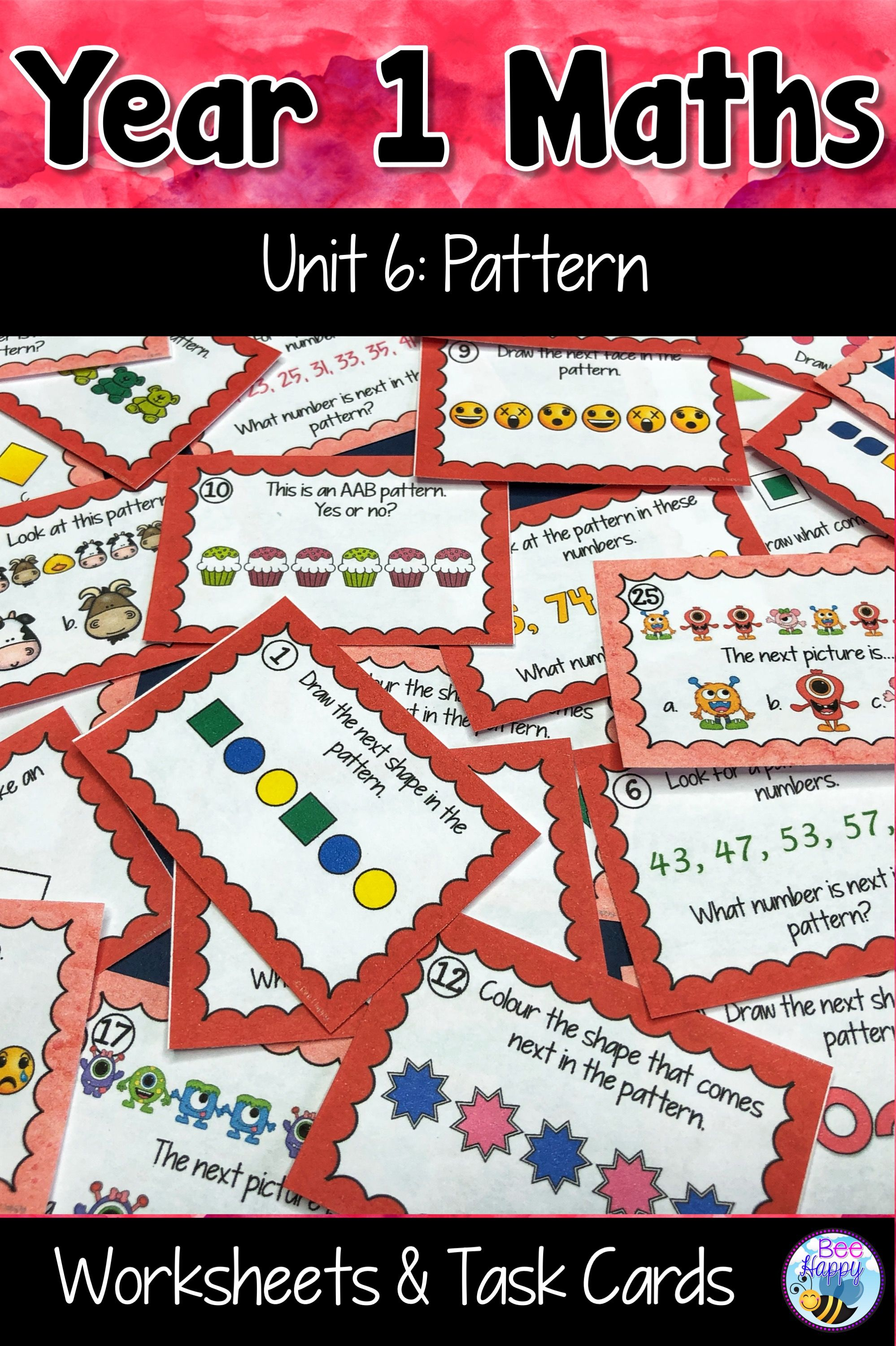 Australian Curriculum Pattern Worksheets And Task Cards