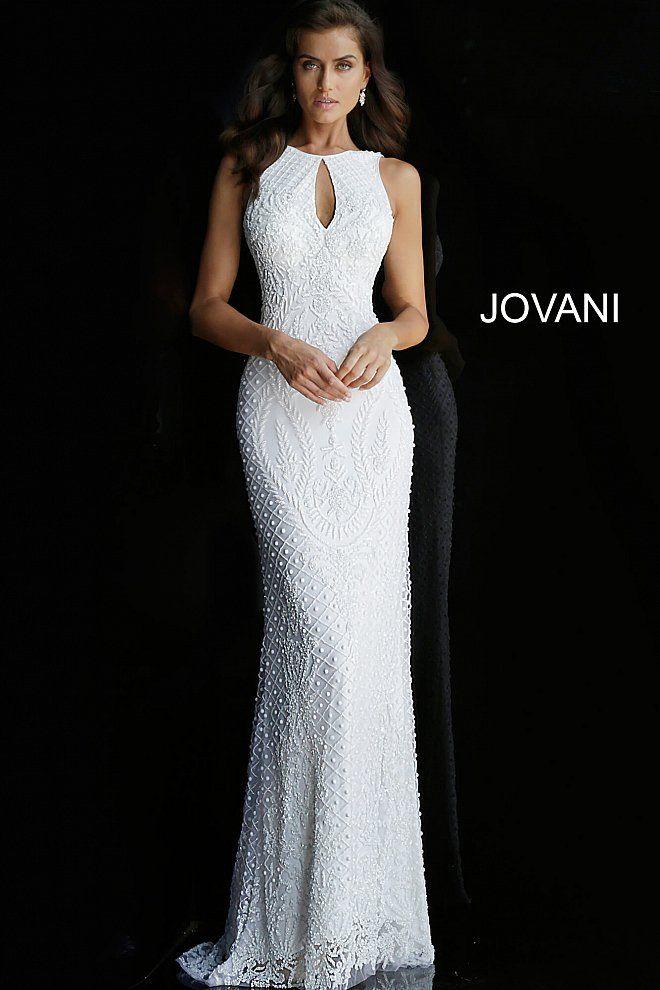 680d4c15be jovani White Key Hole Neck Backless Wedding Dress 42073