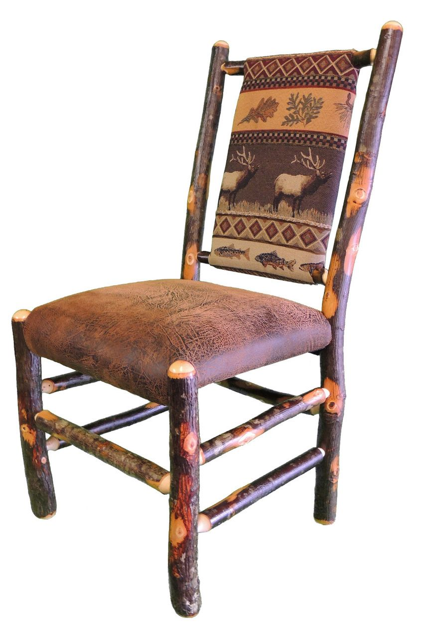 Amish Rustic Hickory Dining Chairs Elk Run Fabric