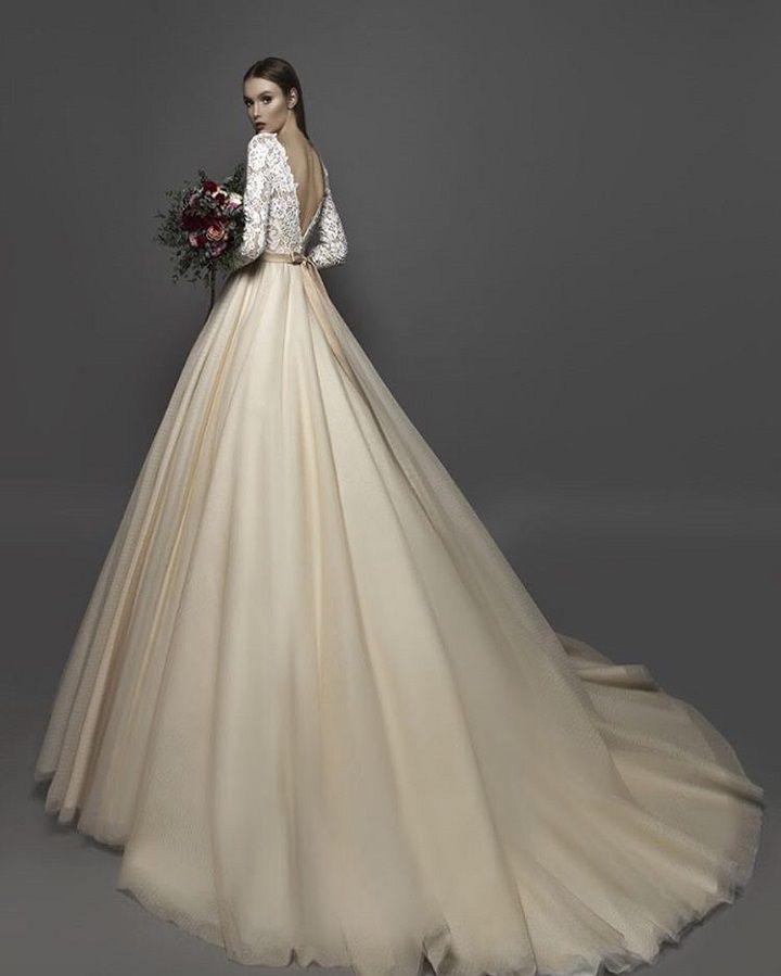 Super romantic deep v back Ball Gown wedding dress by Eva Lendel