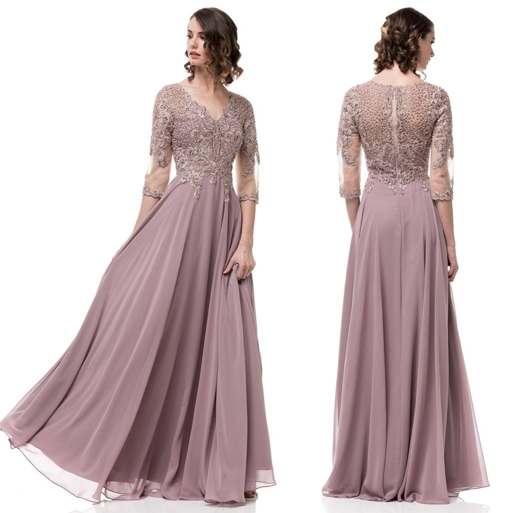 Floor Length Fantasy A-Line Chiffon Lace Mauve Mother of the Bride ...