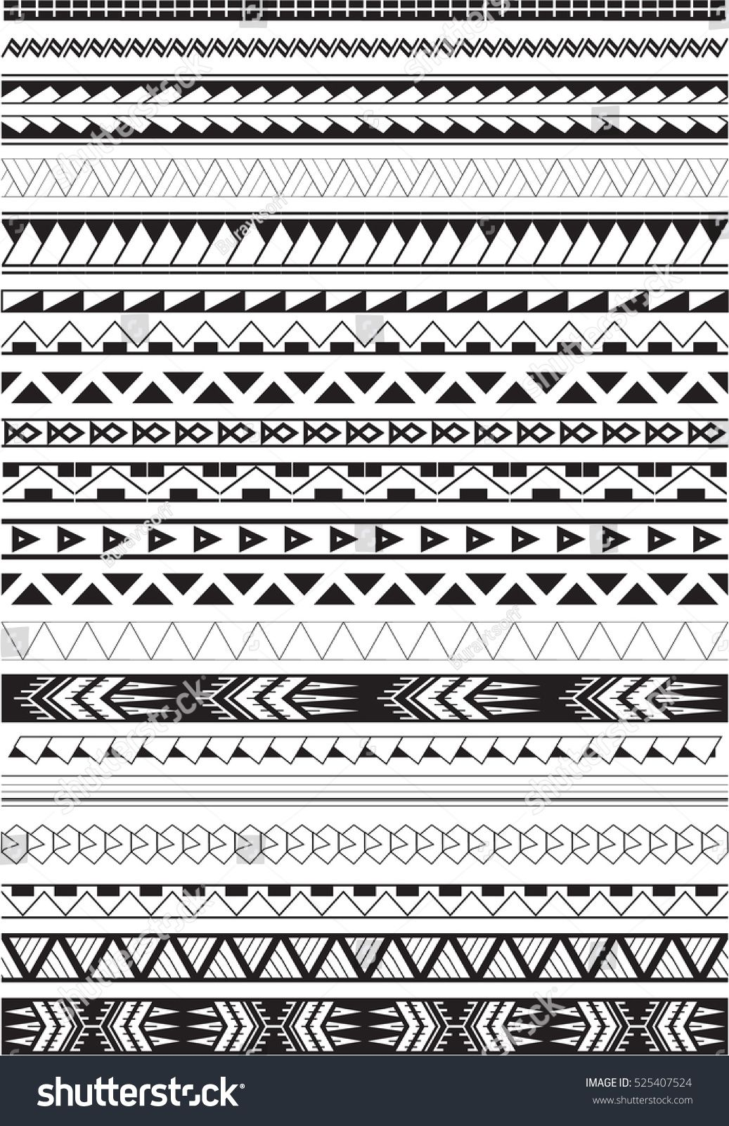 Immagine vettoriale a tema maori brushes on white (royalty free) 525407524