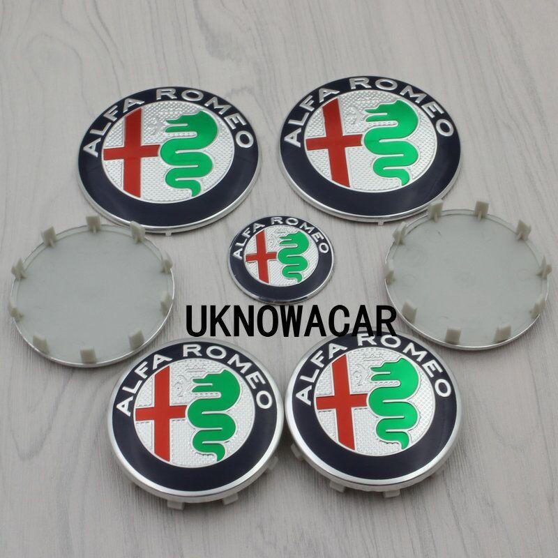 7 Pz Set Per Alfa Romeo 159 147 156 Mito Giulietta Auto Anteriore Posteriore Emblem 74mm 60mm Coprimozzi Delle Ruote 40mm Adesivo Volante Alfa Romeo 159 Exterior Accessories Alfa Romeo
