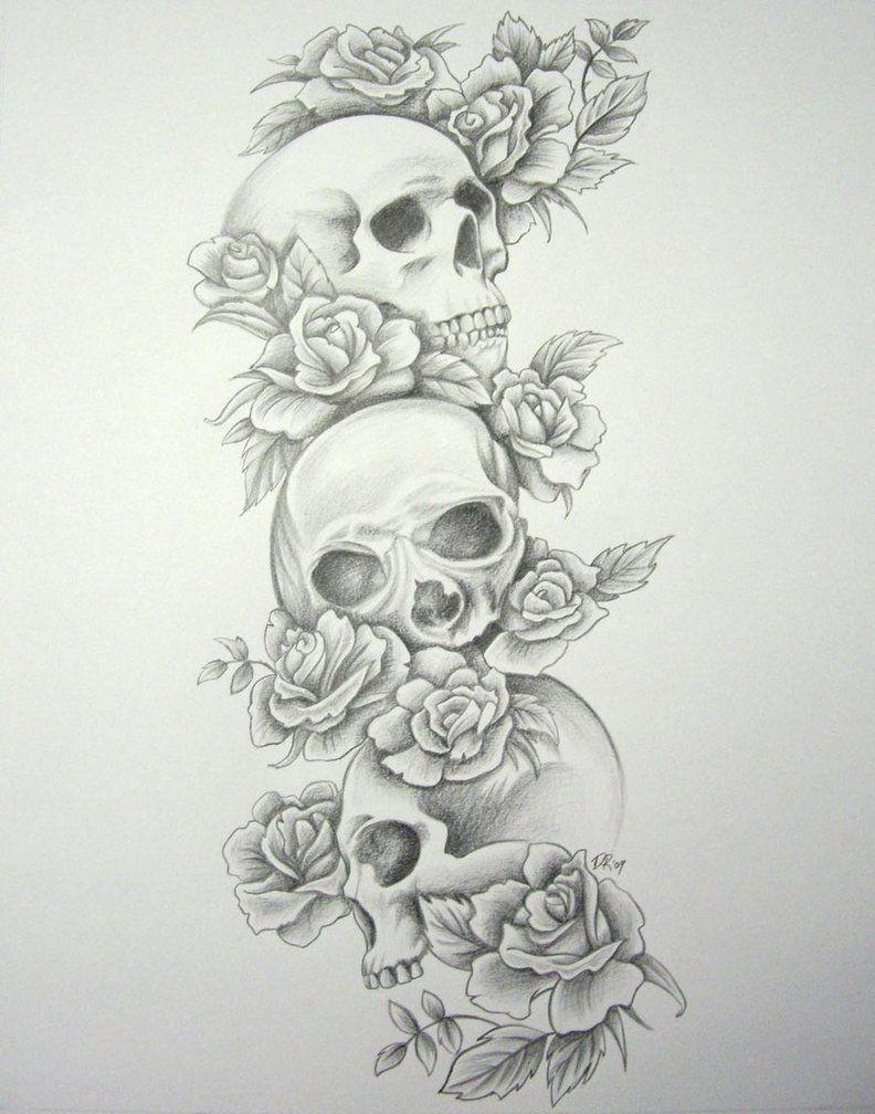 Skull Roses Sleeve By Daniellehope On Deviantart Skull Sleeve Tattoos Cowboy Tattoos Tattoo Sleeve Designs