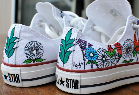 Custom hand painted flowers on low top Converse by