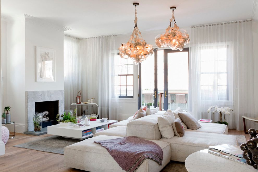 double sided sofa living room contemporary with bubble chandelier