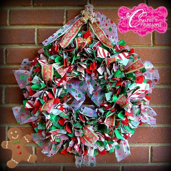 Christmas fabric and ribbon wreath Gingerbread man from my shop www