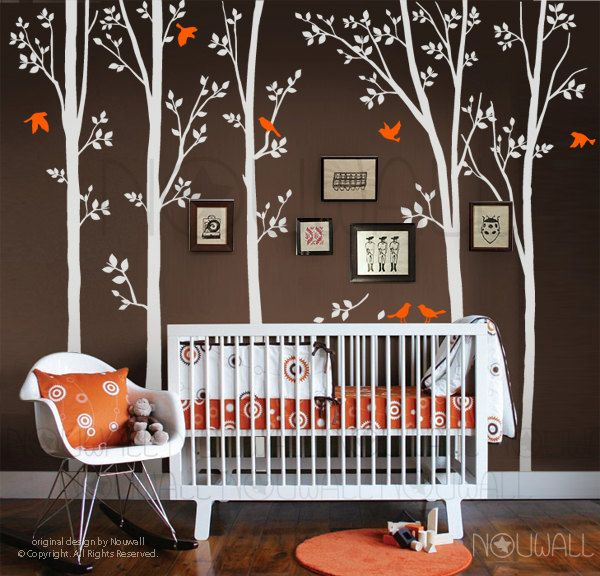 Tree Wall Decals Wall Stickers - spring trees with flying birds nursery decal. $95.00, via Etsy.