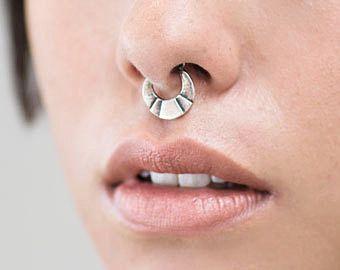 Septum Ring - Sterling Silver Nose Ring - Steps Septum Ring - Septum Clicker