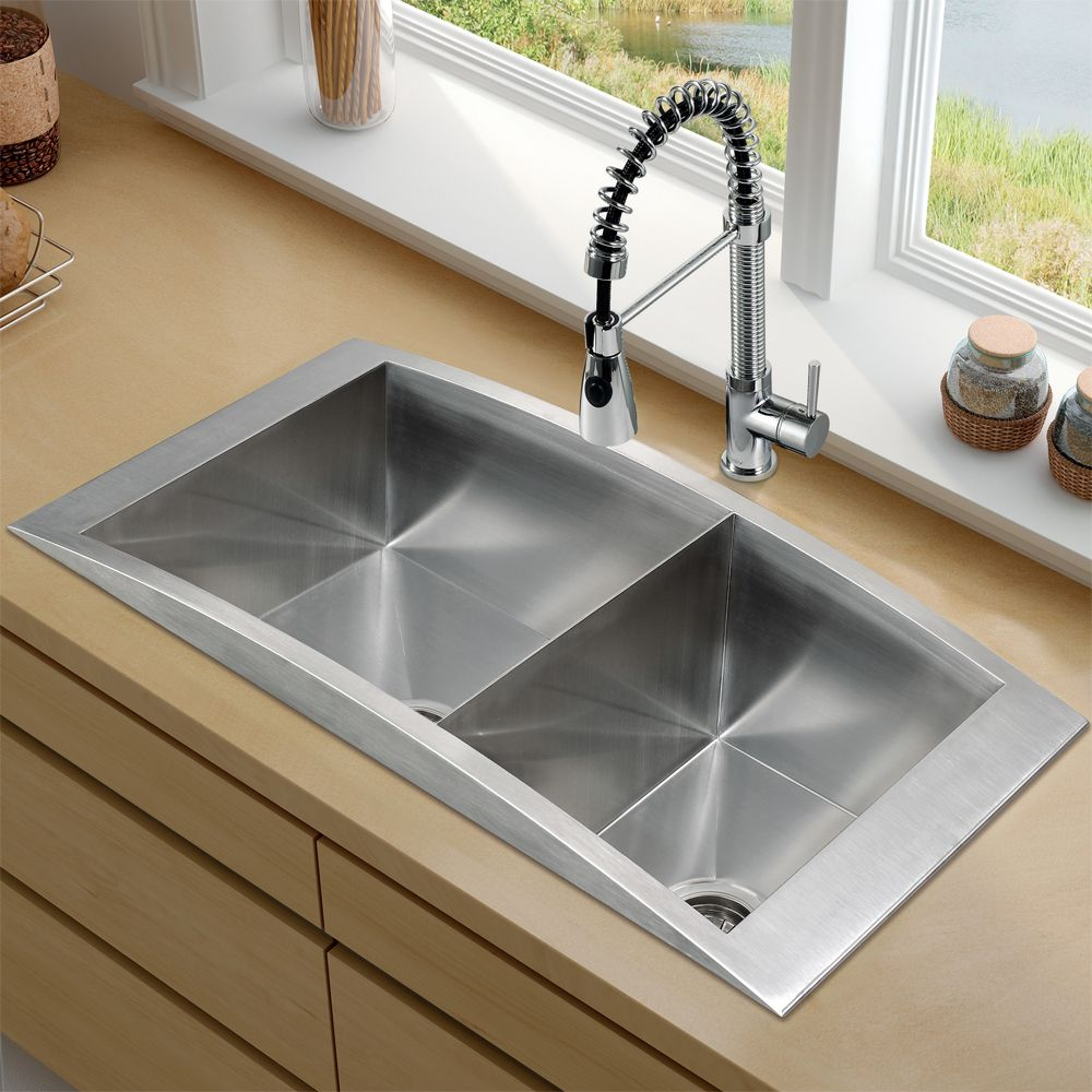 21 Sleek And Modern Metal Kitchen Designs: Nice And Sleek VIGO -Topmount Stainless Steel Kitchen Sink