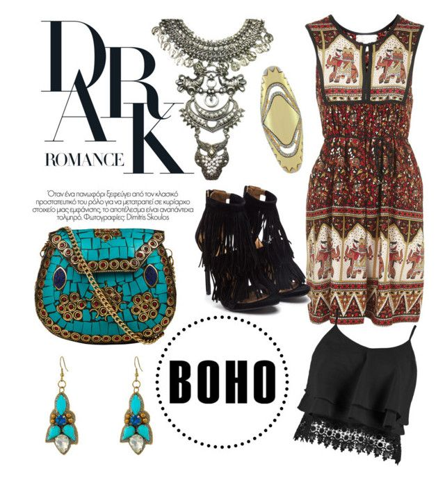 """""""Dark Bohemian"""" by lavenderwine ❤ liked on Polyvore featuring moda, From St Xavier, Topshop, Gypsy SOULE, Boohoo, House of Harlow 1960, Fall, Bohemian, gypsy e folksy"""
