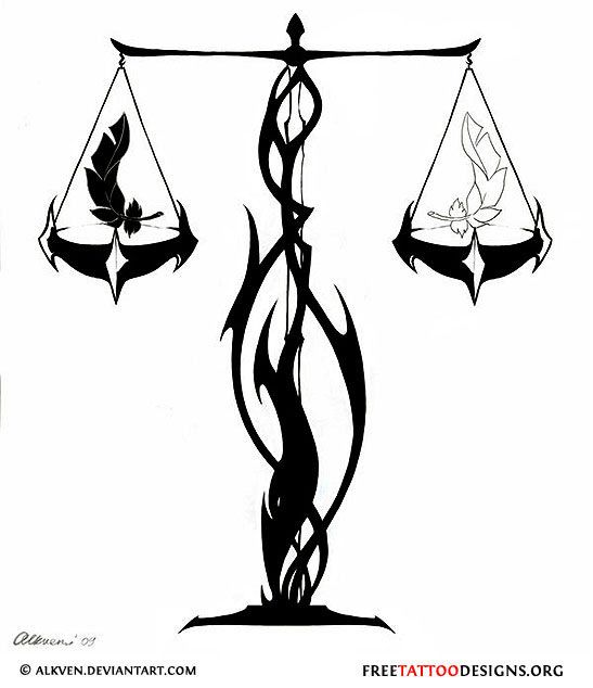 Balance Scale Tattoo Design