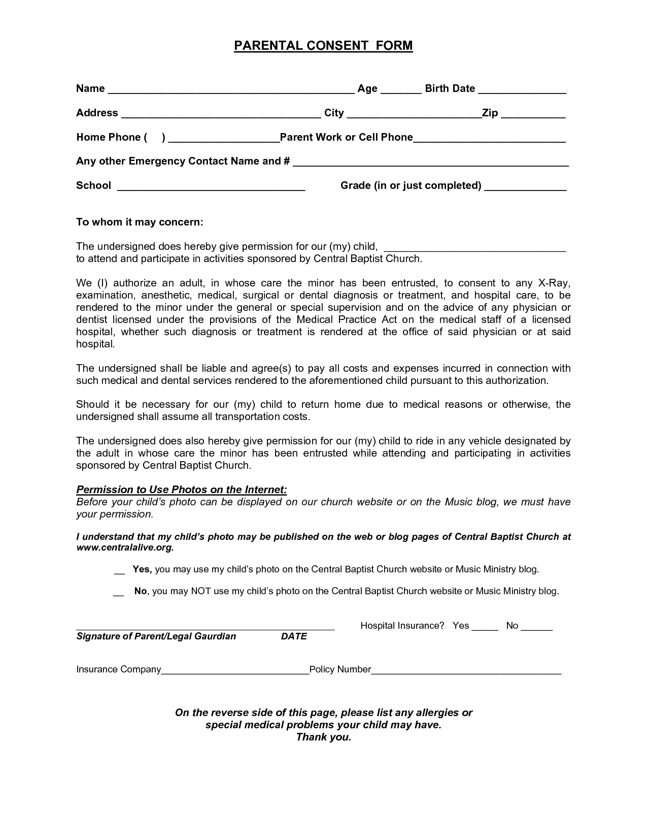 Parental Consent Form for Minor Age to Work – Parent Consent Forms