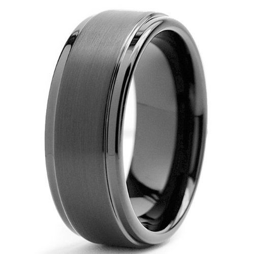 Black High Polish Tungsten Carbide Mens Wedding Band Ring In Comfort Fit And Matte Finish Sizes 5 To 16