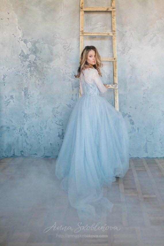 Light Blue Wedding Dress   Blue Wedding Dress Tulle Wedding Dress Blue Lace Wedding Dress