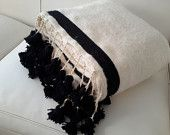 Moroccan Wool Blankets woven by hand with pom poms / moroccan wool throw