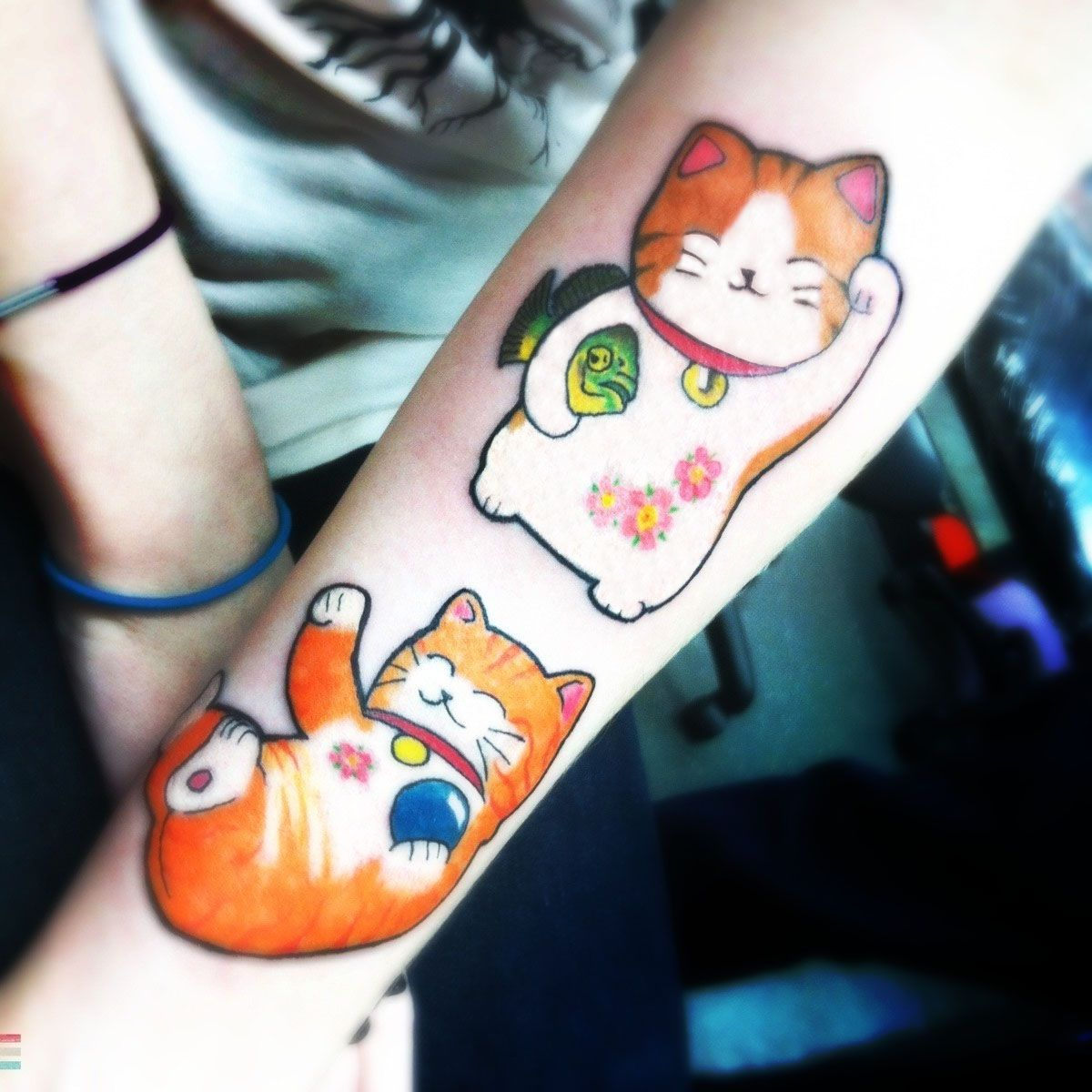 My Cats As Maneki Neko Plus My Tiger Oscar Fish Lt Tattoo Ideas