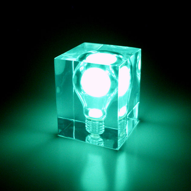 Glow In The Dark Pigment Is Trapped Inside A Real Light Bulb The Light Bulb Is Then Encased In A Solid Block Of Acrylic Re Green Night Lights Night Light Lamp