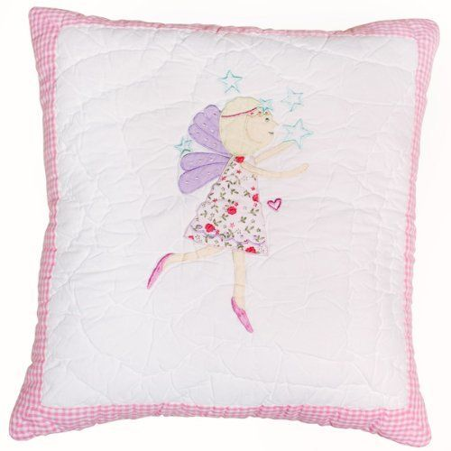 """Fairy Quilted Pillow by Babyface. $29.00. 100% cotton. Includes removable pillow cover and pillow insert. Handquilted Pillow. Matching comforter and storage bag available. Measures 16"""". A handquilted pillow with an appliqued fairy motif. A great finishing touch to your little girl's bedroom! Part of the Babyface """"Fairy"""" bedding collection."""