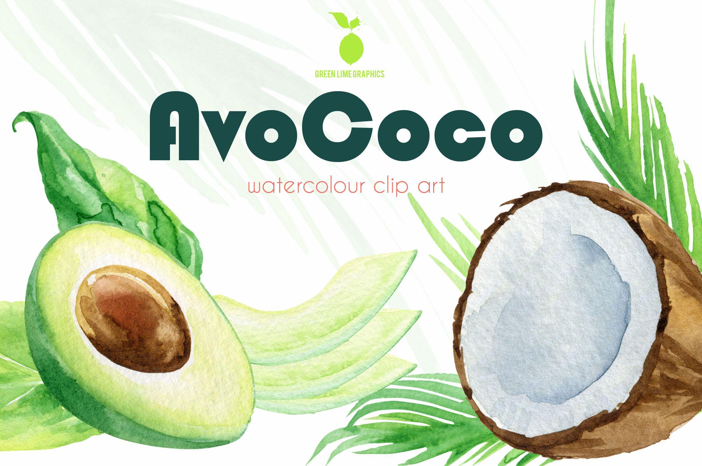 Watercolour Avocado Clipart Watercolour Coconut Clipart Vegan