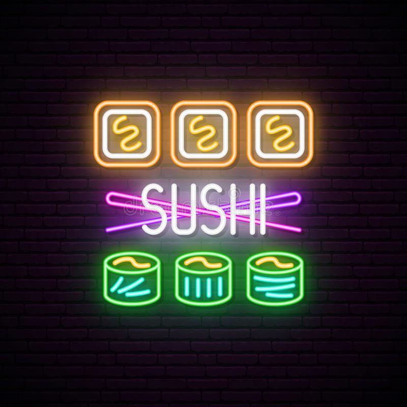 Sushi Rolls With Chopsticks Neon Signboard Vector Illustration Sushi Sushi Rolls Neon