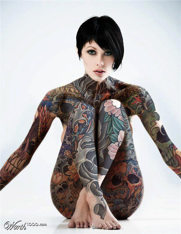 women with tattoos body Sexy full