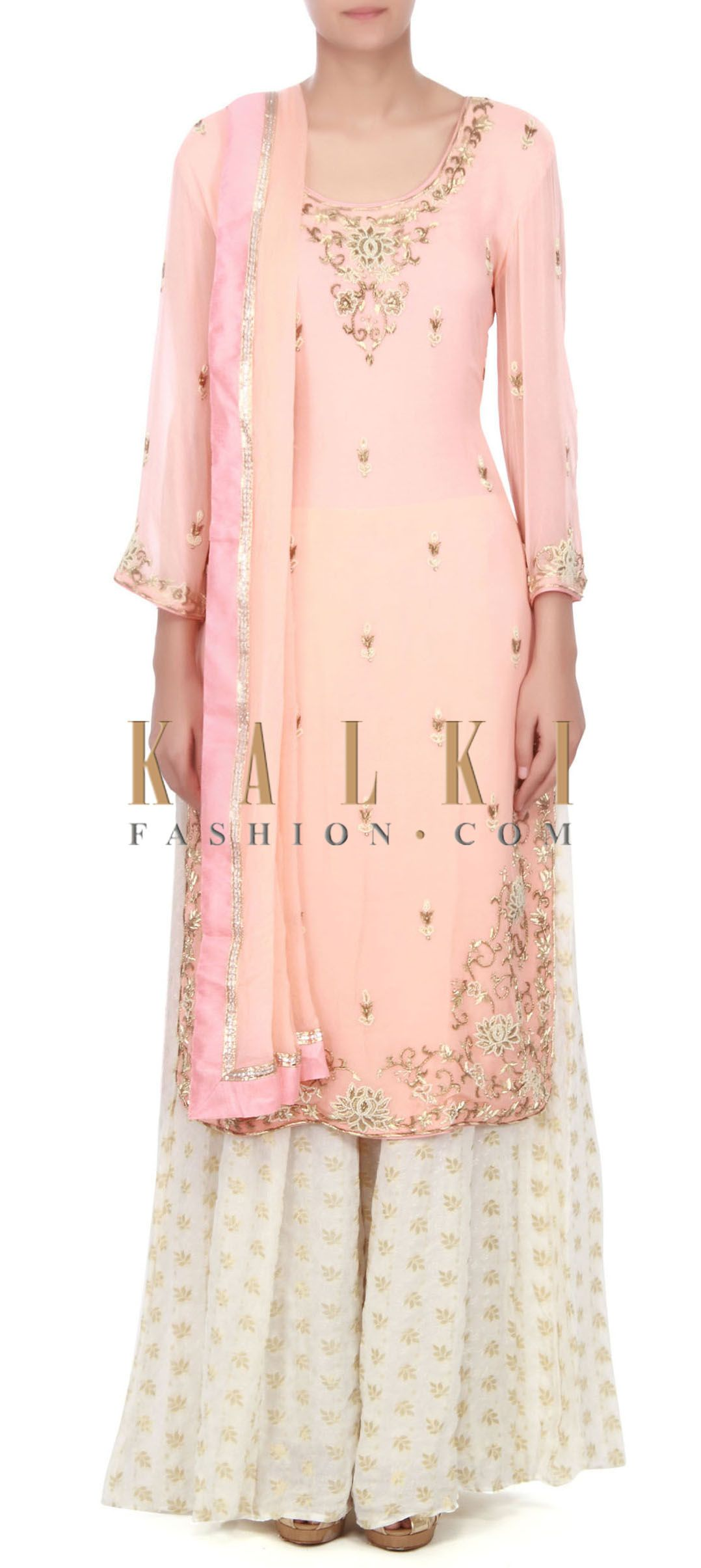 Buy this Pink straight suit adorn in pearl and zardosi only on Kalki ...