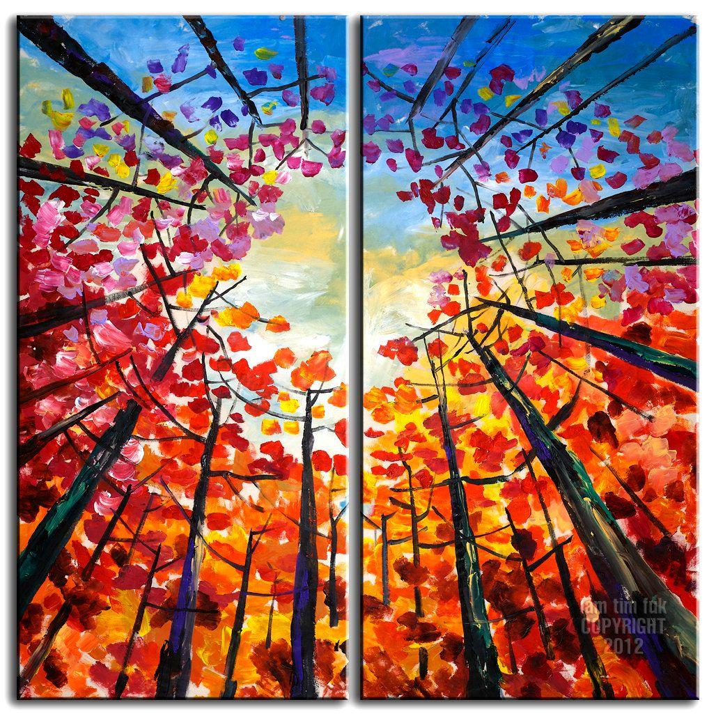 Original Large Tree Art Abstract Impasto Texture Gallery Painting
