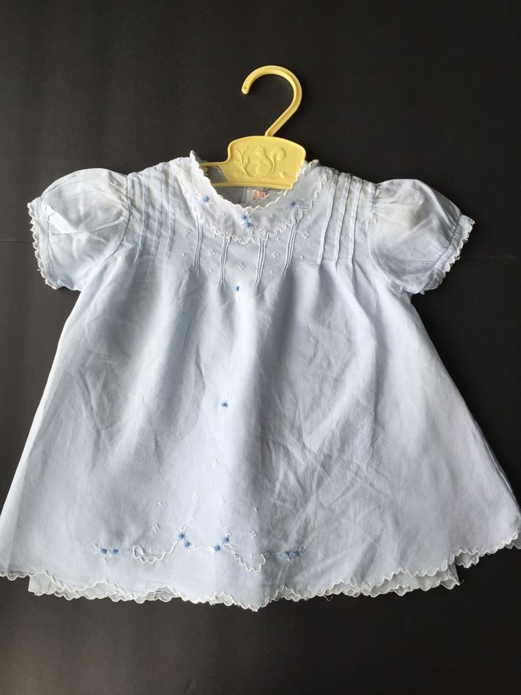 dc47139239f1 Vintage Baby Blue Hand Embroidered Dress w Slip Scallop Edge Hem 50s ...