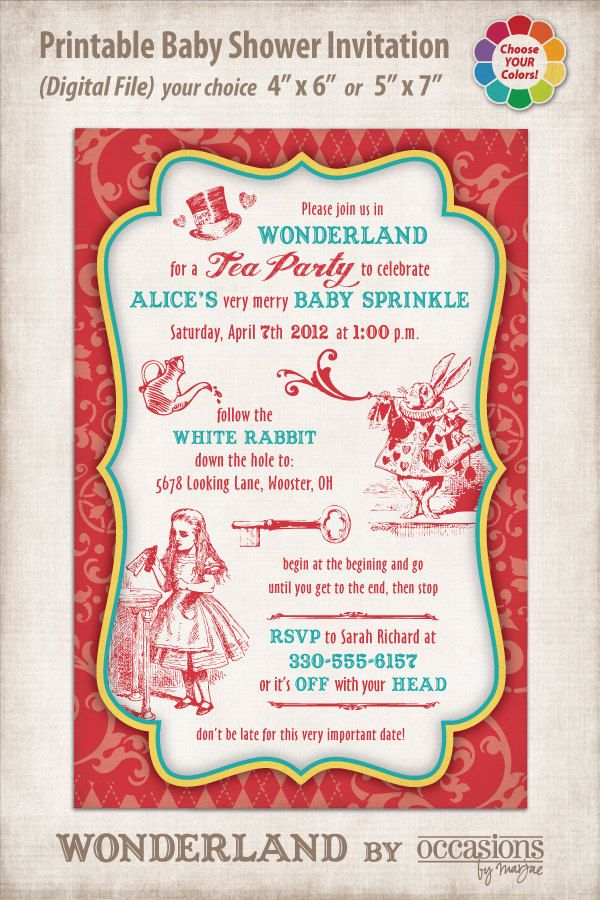 Mad Hatter Baby Shower Invitations | Personalized Printable Baby ...