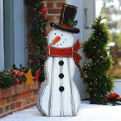 Rustic wooden snowman statue 41 in wooden snowmen for Rustic snowman decor