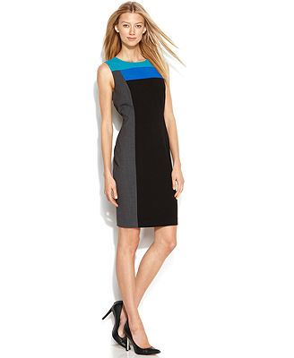 Calvin Klein Dress, Sleeveless Colorblock Sheath - Dresses - Women - Macy's