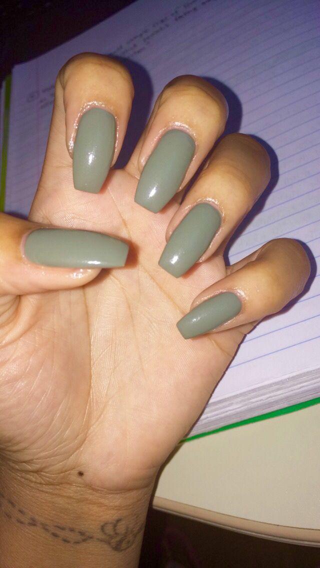 Olive Green Nails Olive Nails Green Acrylic Nails Green Nails