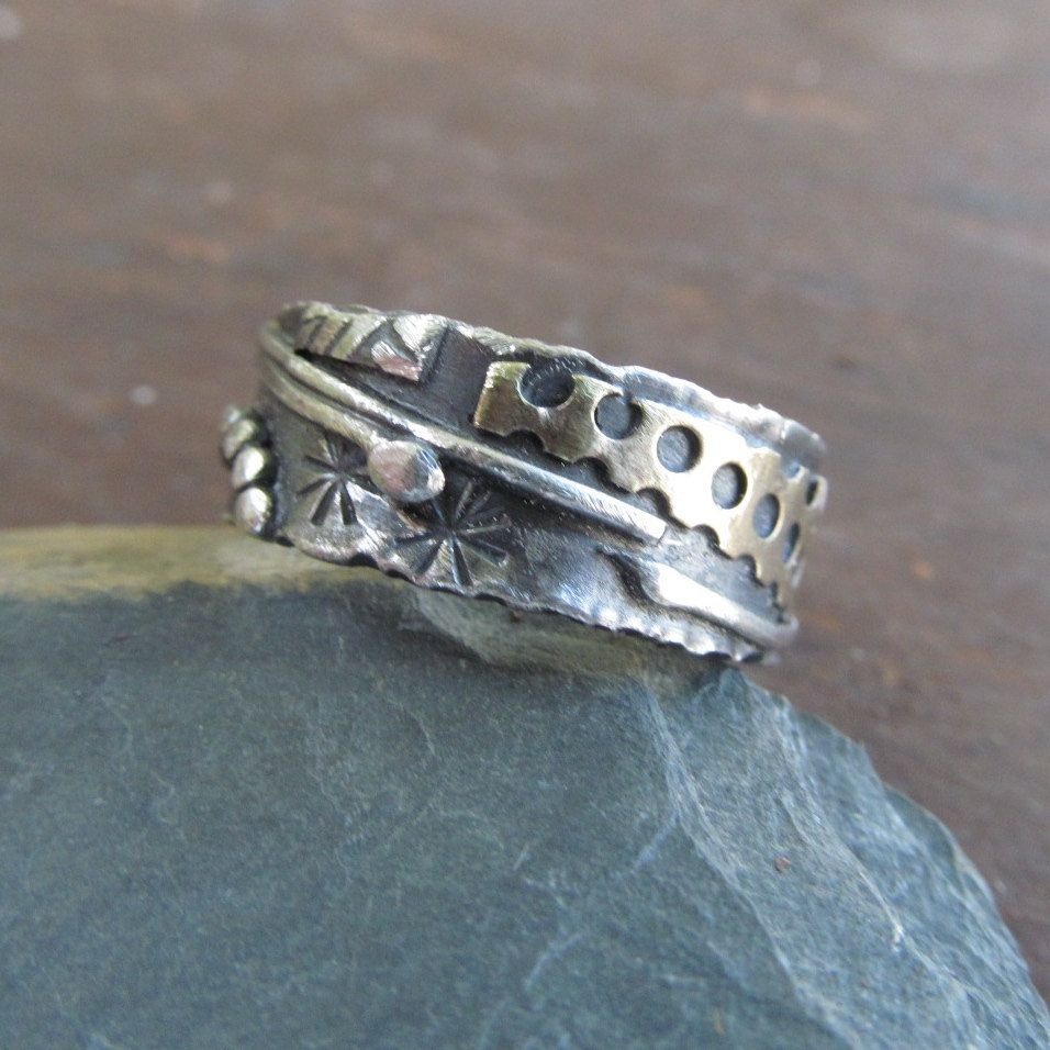 Silver mixed metal ring mens womens funky boho hippie ring for Funky wedding rings