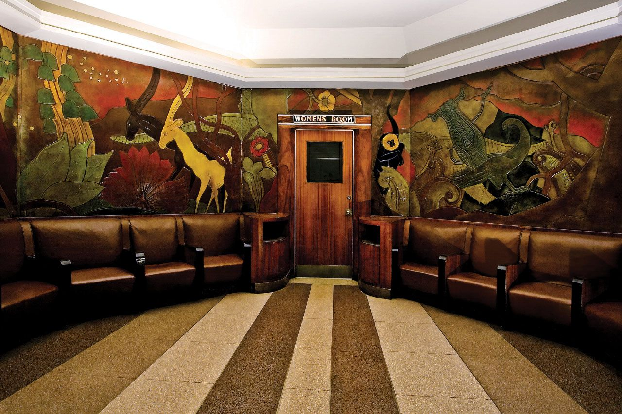 historic pierre bourdelle carved panels in womens lounge - image
