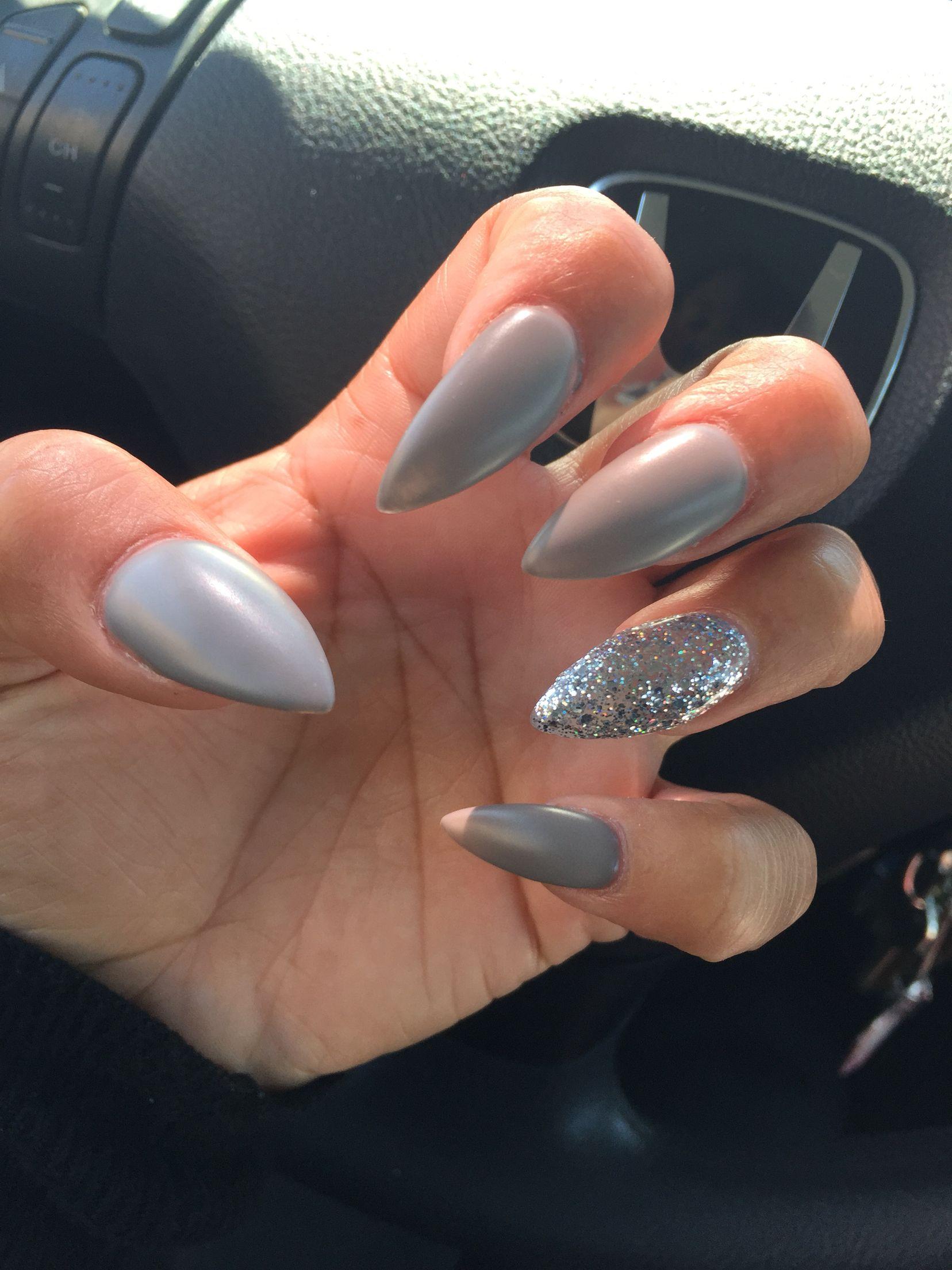 Blue glitter ombr 233 stiletto nails - Gray Glitter Stiletto Nails