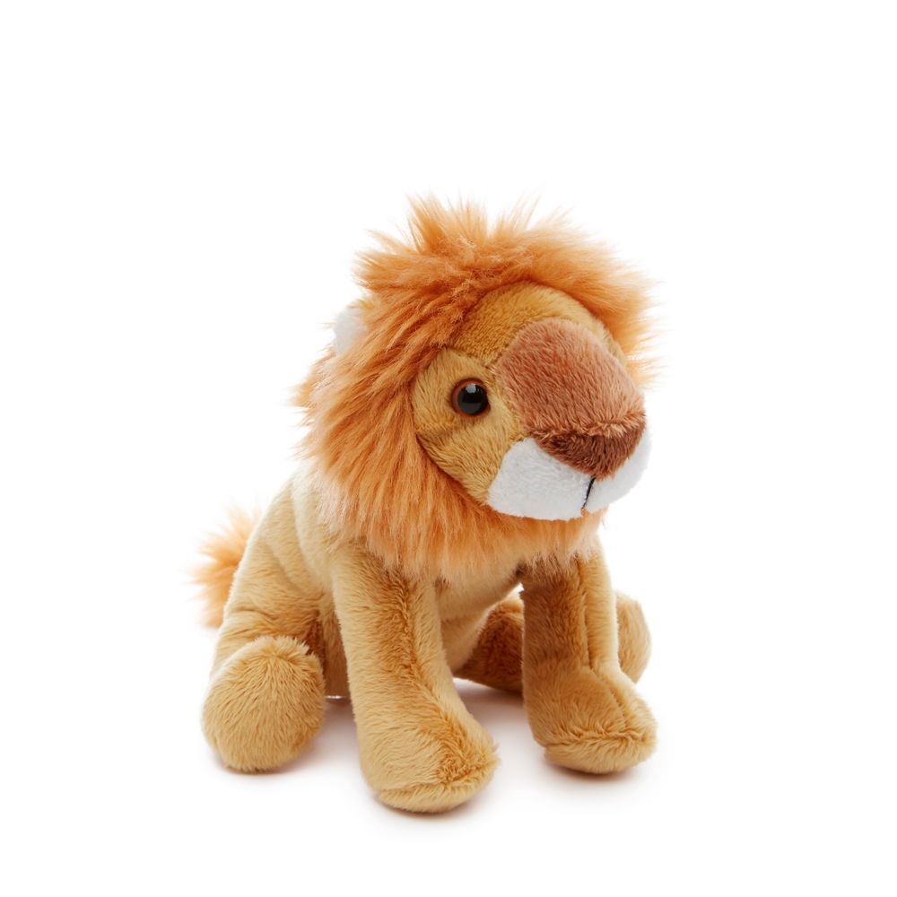 Kids can cuddle up to this small cute lion plush toy in