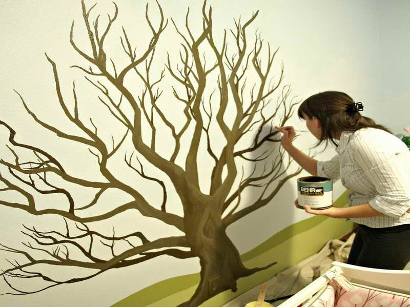 How To Paint A Wall Mural how to paint a tree on a wall with the works | shannon | pinterest