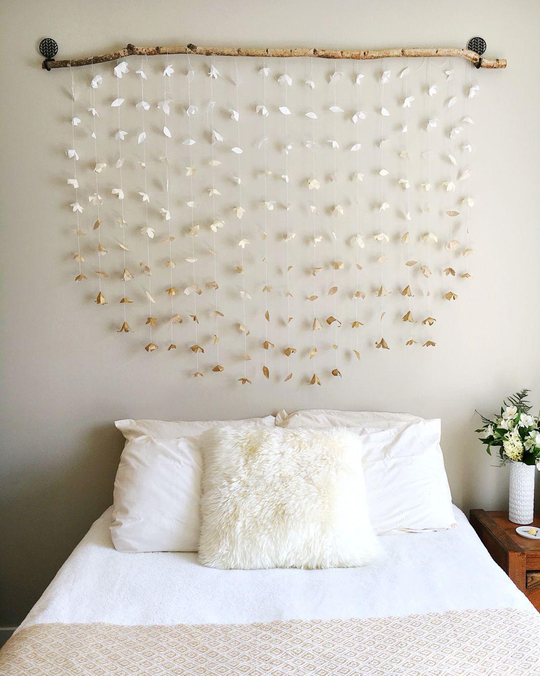 room decor DIY headboard wall hangings tapestries paper flowers
