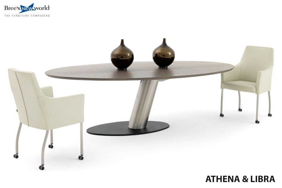 Eetkamerstoelen Athena in wit Toledo leder met de ovale eettafel ...