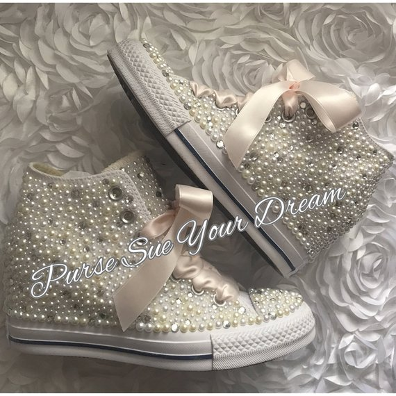 e08cff6b43540a SWAROVSKI CRYSTAL and PEARL Converse Chuck Taylor Lux Wedge Wedding Converse  - Wedding Chucks - Pear