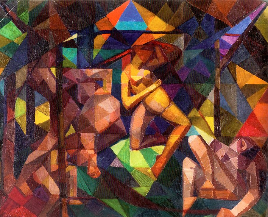 "This work demonstrates how, by the early 1920s, Munn had refined her experimentations with colour to achieve a rhythm and composition akin to musicality, an attribute much sought after by artists engaged with abstraction. ""The Dance,"" c. 1923, private collection."