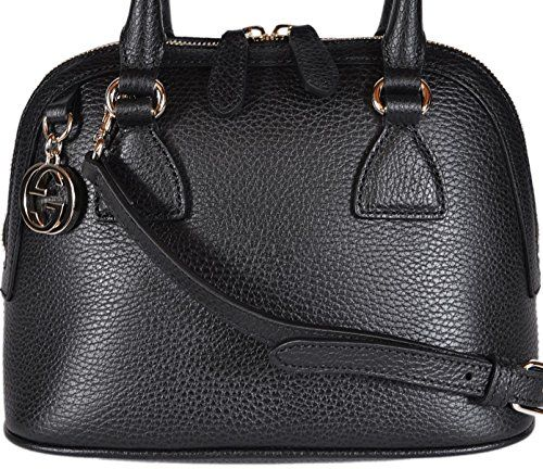 24174b1a0ab Gucci Women s Leather 2 Way Convertible GG Charm Small Dome Purse (Black)