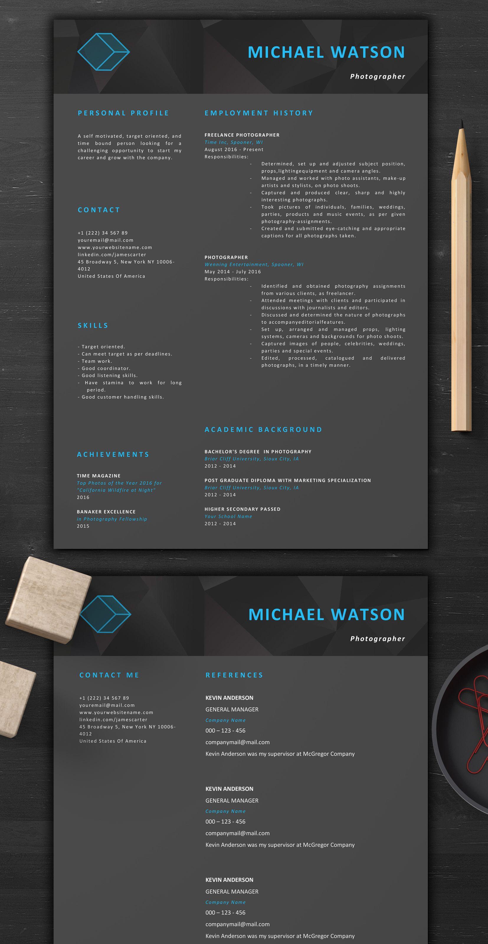 Dark resume template creative resume template 1page