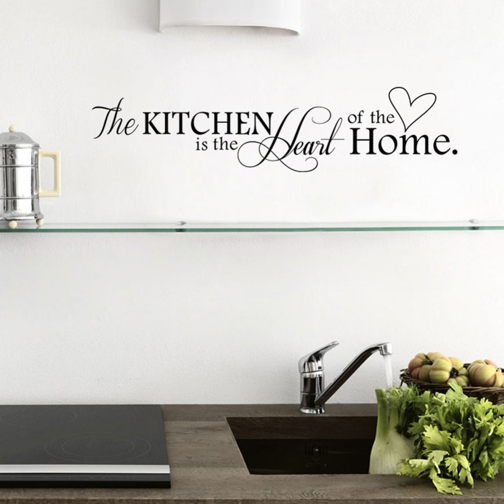 Cu15 New Kitchen + Home Letter Heart Pattern PVC Removable Wall