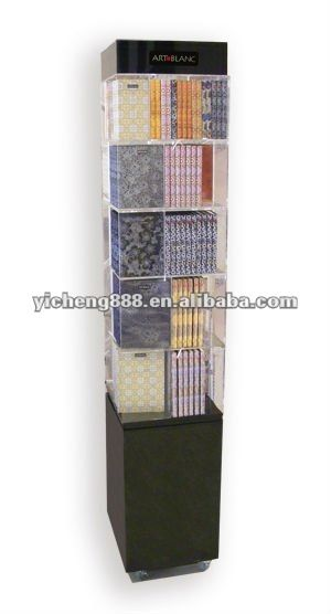 Exhibition Stand Shelves : Acrylic pop display stand for books cube design