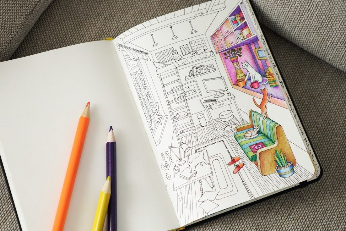 Coloring Pages For Adults Homes : Cats when they re home alone adult coloring pages by