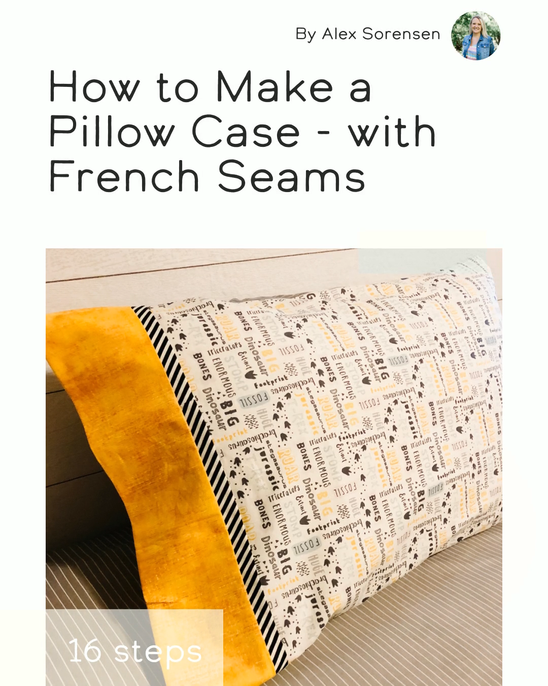 How to Make a Pillow Case - with French Seams in 16 steps using Main Fabric, Trim Fabric, Cuff Fabric #jumpropeapp #jumprope